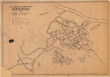 D103 Plattegrond van de gemeente Roermond met aantekening van de bominslagen van de bombardementen in de drie laatste ...