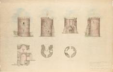 D62 Schetsplan van de Rattentoren, bestaande uit een vooraanzicht zijaanzicht van rechts en links, achteraanzicht, een ...