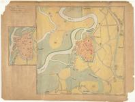 D98 Plattegrond van Roermond en omgeving; met plattegrondje der binnenstad aangevende de poorten,torens en geestelijke ...