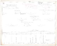19223-16V22 [Geen titel] Lengte- en dwarsdoorsneden van de Regge bij Goor. Zijaanzicht van de brug over dBrug over de ...