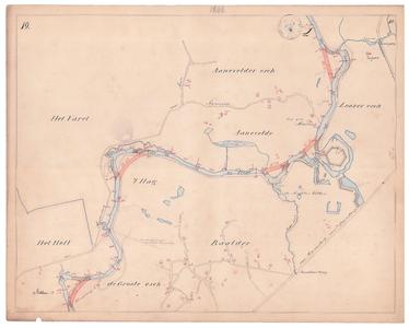 19225-10Z19 [Geen titel] Kaartblad van de rivier de Vecht met daarop, met rood aangegeven, voorstellen tot afsnijding. ...