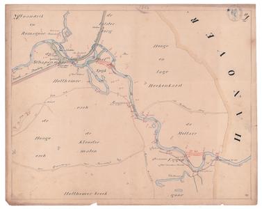 19225-10Z21 [Geen titel] Kaartblad van de rivier de Vecht, met daarop in het groen ingetekend de sinds 1847 ...