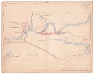 19225-10Z6 [Geen titel] Kaartblad van de rivier de Vecht met daarop met rood ingetekend voorstellen tot afsnijding. ...