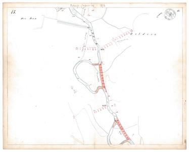 19231-15V15 [Geen titel] Kaartblad van de Regge ter hoogte van Hellendoorn, met ontwerp voor rivierafsnijding. Vermeld ...