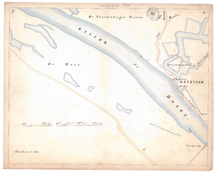 19231-17Y1 [Geen titel] Kaartblad van de IJssel en de stadsgracht van Deventer. Vermeld worden: Noordenberger Tuinen, ...
