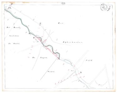 19231-17Y18 [Geen titel] Kaartblad van de Schipbeek ten zuidwesten van Markelo met ontwerp voor afsnijdingen. ...