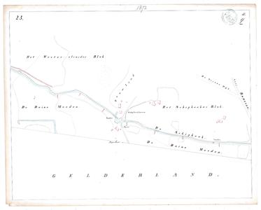 19231-17Y23 [Geen titel] Kaartblad van de Schipbeek ten zuidwesten van Diepenheim, met vonders en voorde. Vermeld ...