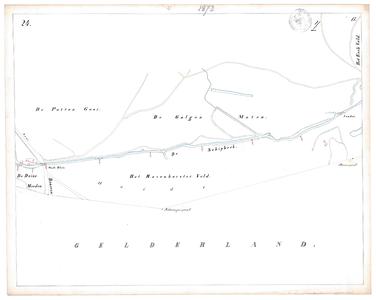 19231-17Y24 [Geen titel] Kaartblad van de Schipbeek ten zuiden van Diepenheim met de Oude Sluis in de weg naar Borculo. ...