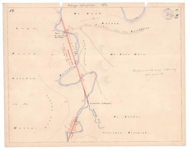 19231-22X19 [Geen titel] Kaartblad van de Dinkel vanaf het centrum van Losser met ontwerp afsnijdingen. Vermeld worden: ...