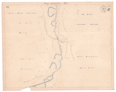 19231-22X20 [Geen titel] Kaartblad van de Dinkel ter hoogte van het bedrijventerrein De Pol te Losser, met een niet ...