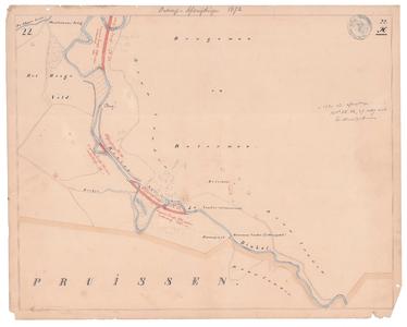 19231-22X22 [Geen titel] Kaart van de Dinkel ter hoogte van Glane, tot de grens met Duitsland (Pruisen), met ontwerp ...