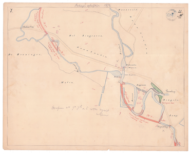 19231-22X7 [Geen titel] Kaart van de Dinkel en de Bijdinkel, ter hoogte van landgoed Singraven bij Denekamp, met een ...