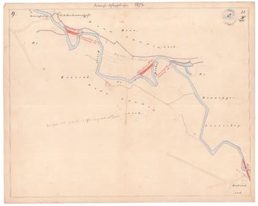 19231-22X9 [Geen titel] Kaart van de Dinkel tussen Beuningen en Mekkelhorst, met de Beuningerbrug. Aan de noordzijde: ...