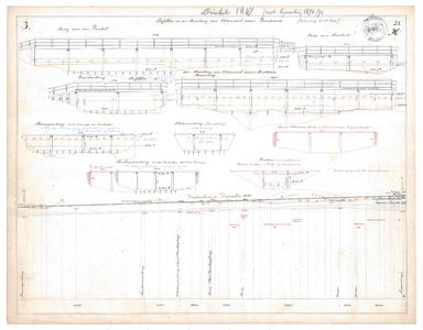 19231-23X3 [Geen titel] Lengtedoorsnede van de Dinkel tussen de huidige N342 en de huidige A1. Zijaanzichten van de ...