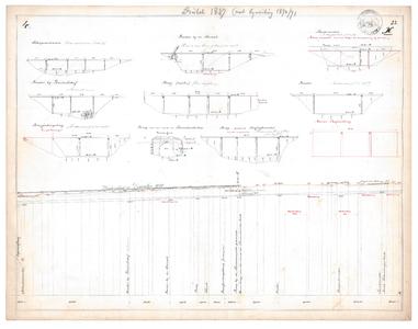 19231-23X4 [Geen titel] Lengtedoorsnede van de Dinkel vanaf de huidige A1 tot de huidige N734. Zijaanzichten van de ...