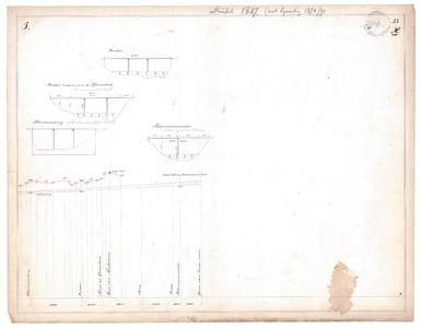 19231-23X5 [Geen titel] Lengtedoorsnede van de Dinkel vanaf de N735 bij Losser tot de Duitse grens. Zijaanzichten van ...