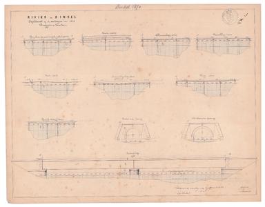 19231-X1 Rivier de Dinkel, Suplement op de metingen van 1847, Bruggen en Vonders Zijaanzichten van de brug boven de ...