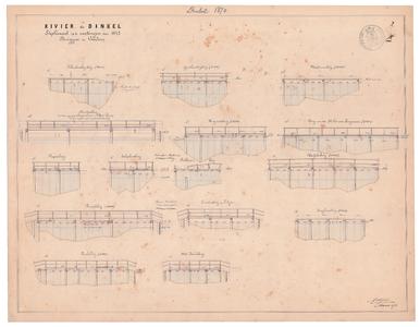19231-X2 Rivier de Dinkel. Suplémant op de metingen van 1847. Bruggen en vonders Zijaaanzicht van de ...