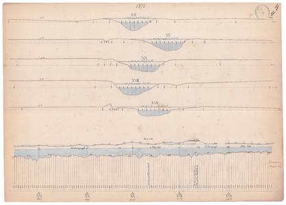 19231-Y17.4 [Geen titel] Dwarsdoorsneden die corresponderen met de meetpunten aangegeven in de lengtedoorsnede. ...