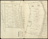 1355 Marke - Daarle Schetsteekening van de Krommebelt en de Aanlandingen langs de Slagen. Twee adastrale schetskaartjes ...