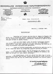 13395 FDHEEMAF021466 Tevredenheidbetuiging van de Koninklijke Vereenigde Tapijtfabrieken Rotterdam, betreffende de ...