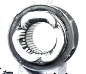 13733 FDHEEMAF020347 Diverse stadia tijdens het wikkelen van de stator van motor van het type NK 4.Wikkeling compleet ...