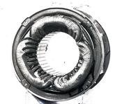 13734 FDHEEMAF020348 Diverse stadia tijdens het wikkelen van de stator van motor van het type NK 4. Stator geheel ...