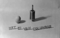 7281 FDHEEMAF054083 Rotor van een HEEMAF stofzuigermotor op reclameplaat: Het Ei van Columbus , 1938-07-05