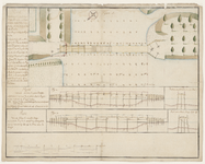 1202-KD000165 Plan vertoonende de SchoenkupenbruggeBovenaanzicht en twee profielen met waterhoogten van de nieuw aan te ...