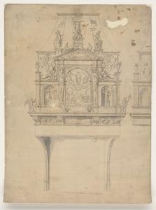 1240-KD000105 Patroen van den Schoorsteen op die Raetkaemer boven de schoorsteen: Anno domini 1560Ontwerp voor een ...