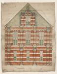 1241-KD000107 Op achterkant geschreven: Front van een gevel aan de SassenstraatIngekleurd ontwerp van de opstand voor ...