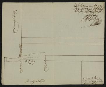 12441-KD000250 Op achterzijde (dorsaal); Caarte figuratijf van een Hoekje Gront te Wythem aan Grootveld ...