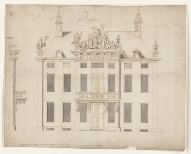 1252-KD000109 [Zonder titel]Ontwerp van de voorgevel een nieuw stadhuis met een allegorisch beeldhouwwerk. Voor- en ...