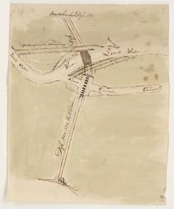 1274-KD000188 [Zonder titel]Schetskaart gemaakt door J.J. de Clesheim van het Zwarte Water bij de Penanten in de ...