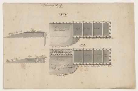 1276-KD000190 Teekening nr. 4Twee ontwerptekeningen van profielen van een dam in het Zwarte Water om deze op te hogen. ...