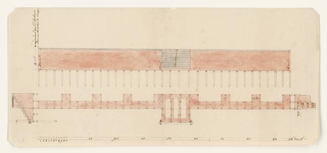 1286-KD000028 [Zonder titel]Ontwerptekening van de opstand en plattegrond van de nieuwe muur met trap van Bentheimer ...