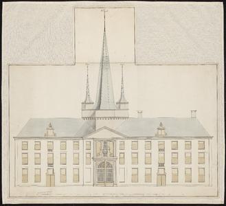 1287-KD000037 [Zonder titel]Ontwerp van de voorzijde van de opstand voor een militaire gevangenis bij de Jan Bagstoren, ...