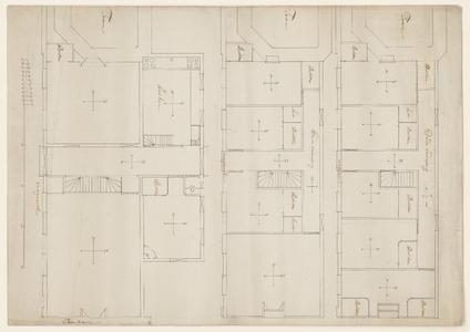 1287-KD000039 [Zonder titel]Ontwerptekening van plattegronden voor een gebouw van drie verdiepingen, gelegen tussen de ...
