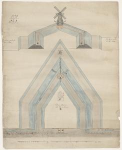 1288-KD000012 '1778, No.1'Plattegrond met opstand van het bolwerk Eekwalbolwerk met de daarop staande Eekmolen, met ...