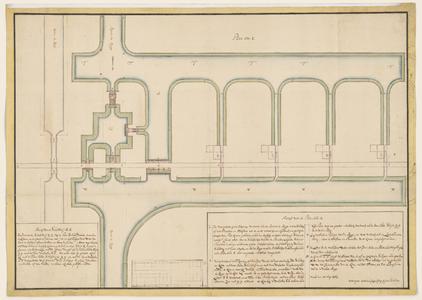 1384-KD000267 Plan nom. 2Ontwerpplattegronden door J.J. de Clesheim voor een schutsluis en een hoofddam of penanten in ...