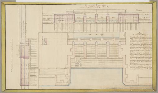 1384-KD000268 Standtekening van de Penanten en Hofden met de daar over te leggende houtene Brug bij 't Laar Nieuwe ...