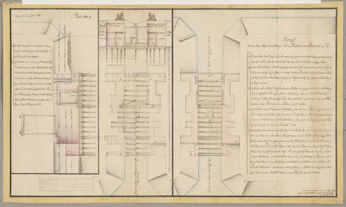 1384-KD000269 Plan nom. 4Detailtekening door J.J. de Clesheim van het ontwerp van de twee halve schutsluizen in de ...