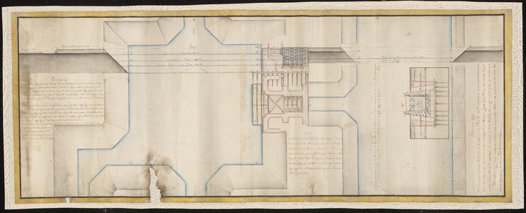 1384-KD000270 Plan nom. vijfOntwerp voor een verlaat in de rivier de Regge (bij Ommen) in verband met een nieuw te ...