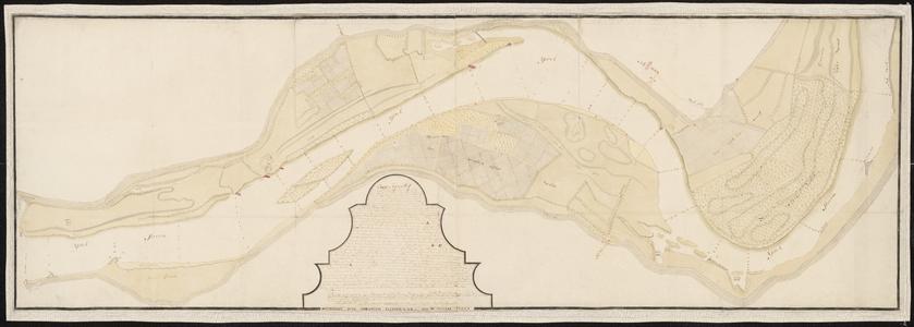 1388-KD000281 Caart figuratiefKaart door A.J. Knollaert (kopie door Abraham Hanselaar) van de IJssel tussen het ...