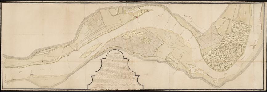 1388-KD000282 Caart FiguratiefKaart door A.J. Knollaert van het gebied van de IJssel tussen het Cooterveer (Katerveer) ...
