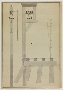 1393-KD000236 [Zonder titel]Ontwerptekening van een paal en trekbel bij het Katerveer; voor- en zijaanzicht. Met ...