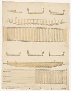 1393-KD000237 Op achterzijde vermeld: Plan van de ScholdeOntwerp van de scholde (veerpont) van het Katerveer. Met ...