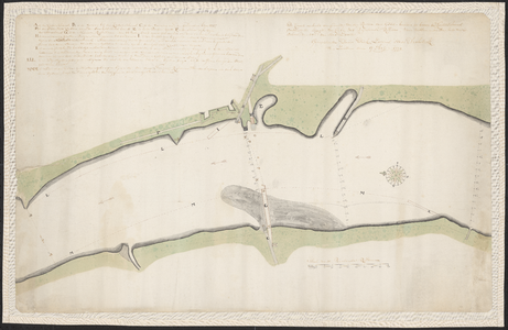 1402-KD000242 De kaart verbeeld eenig gedeelte van de rivier den IJssel beneden en boven de Katerschans omtrent ter ...