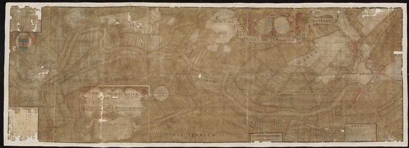 1411-KD000196 Caerte van het Swartewaeter tusschen Zwolle en HasseltHet gebied tussen Zwolle en Hasselt aan weerszijden ...