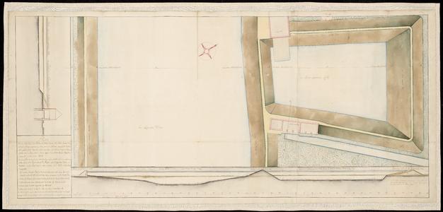 1412-KD000159 [Zonder titel]Plan (bovenaanzicht en dwarsdoorsneden) getekend door J. J. de Clesheim van de Katerdijk, ...